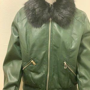 New Hunter Green  Vegan Leather Jacket